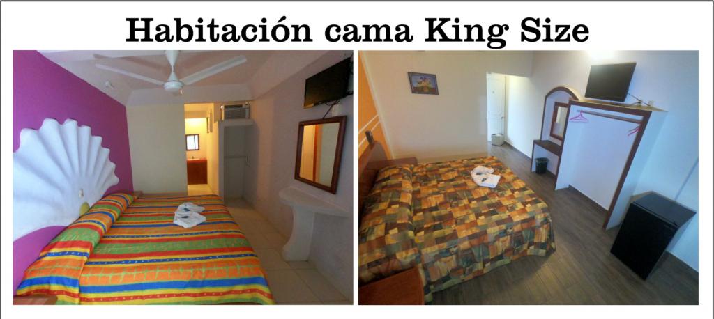 Habitacion con cama grande, amplia, decorada, aseada en Hotel Lhasa Cama King Size
